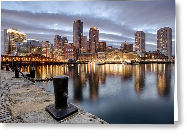Boston Waterfront - Fort Point Channel Greeting Card by Josh Whalen