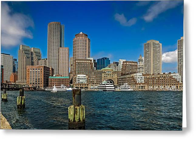 Boston Waterfront Skyline Greeting Card