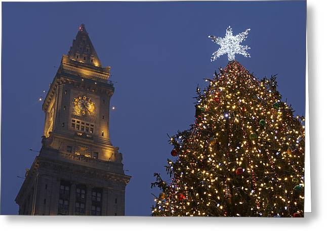 Boston Wishing You A Merry Christmas  Greeting Card by Juergen Roth