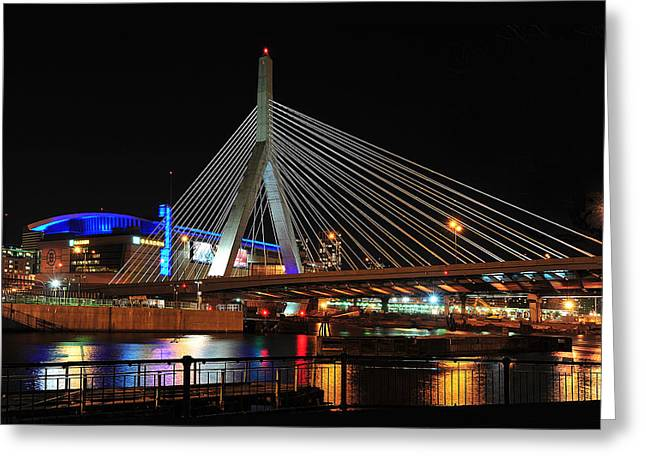 Boston's Zakim-bunker Hill Bridge Greeting Card by Mitchell R Grosky