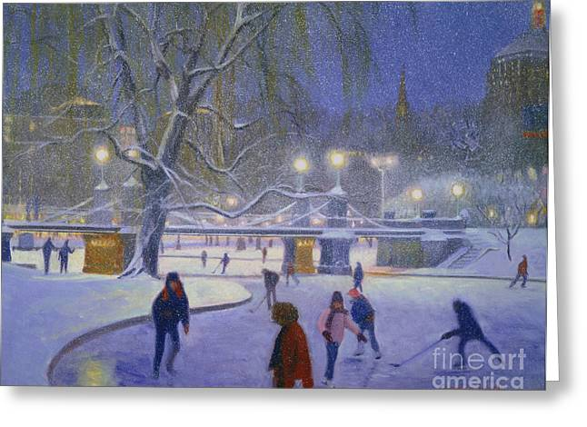 Ice-skating Greeting Cards - BostonTwilight Blues Greeting Card by Candace Lovely