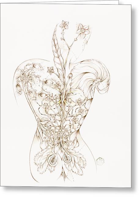 Botanicalia Cinnabar-sold Greeting Card by Karen Robey