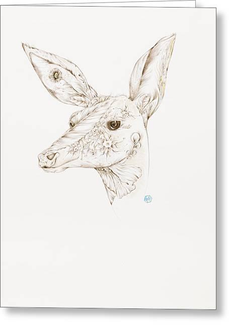Botanicalia Deer Greeting Card by Karen Robey