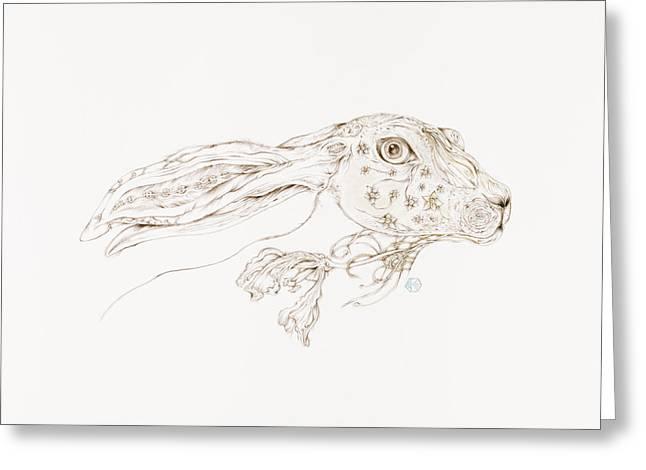 Botanicalia Jack Rabbit-sold Greeting Card by Karen Robey