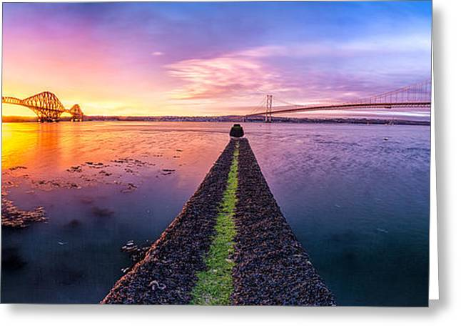 Both Forth Bridges Greeting Card by John Farnan