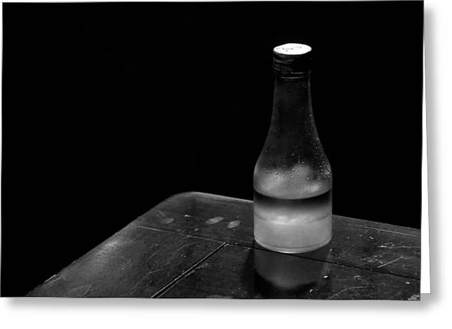Bottle And Corner Greeting Card by Guillermo Hakim