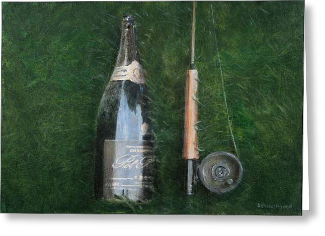 Bottle And Rob II, 2012 Acrylic On Canvas Greeting Card by Lincoln Seligman