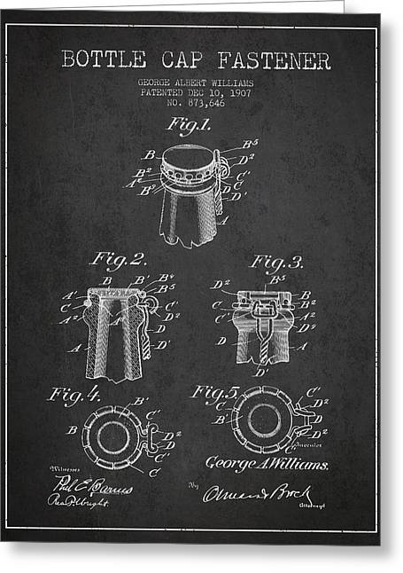 Bottle Cap Fastener Patent Drawing From 1907 - Dark Greeting Card by Aged Pixel