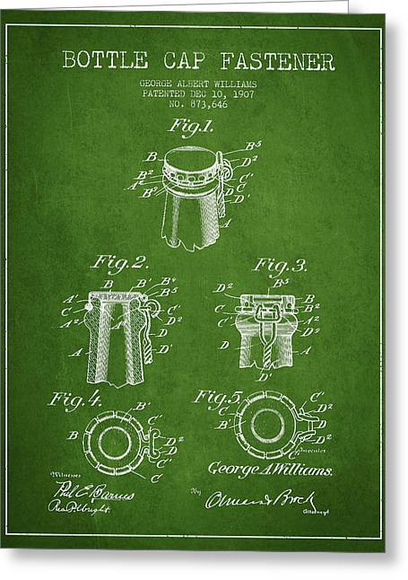 Bottle Cap Fastener Patent Drawing From 1907 - Green Greeting Card by Aged Pixel