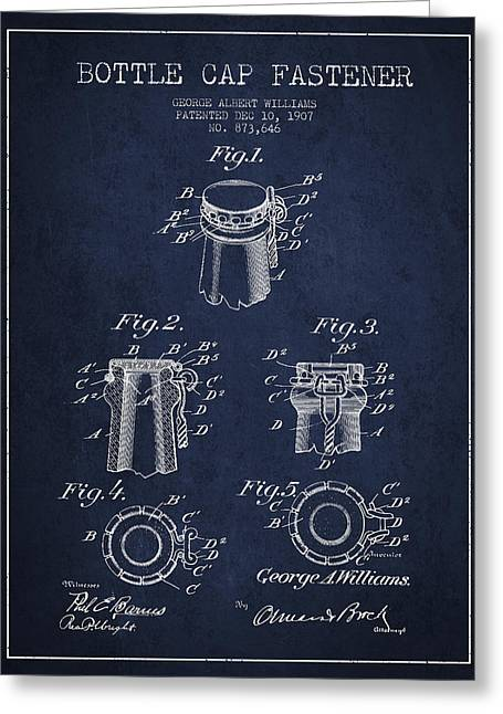 Bottle Cap Fastener Patent Drawing From 1907 - Navy Blue Greeting Card by Aged Pixel