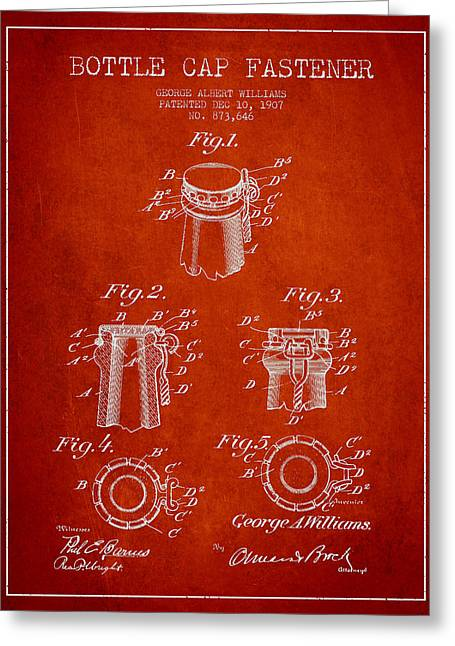 Bottle Cap Fastener Patent Drawing From 1907 - Red Greeting Card by Aged Pixel