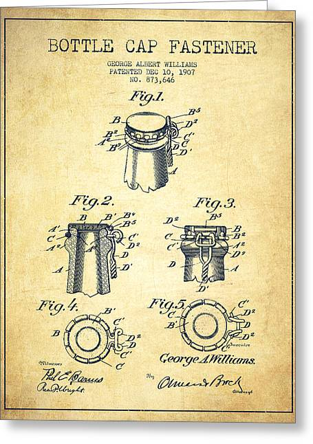 Bottle Cap Fastener Patent Drawing From 1907 - Vintage Greeting Card by Aged Pixel