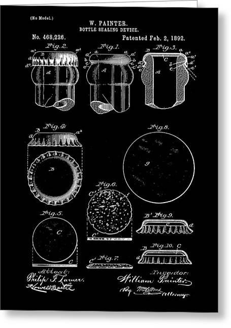 Bottle Cap Patent 1892 - Black Greeting Card by Stephen Younts