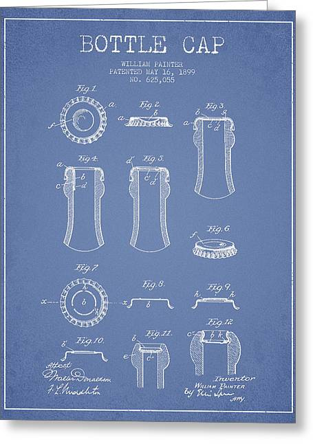 Bottle Cap Patent Drawing From 1899 - Light Blue Greeting Card by Aged Pixel