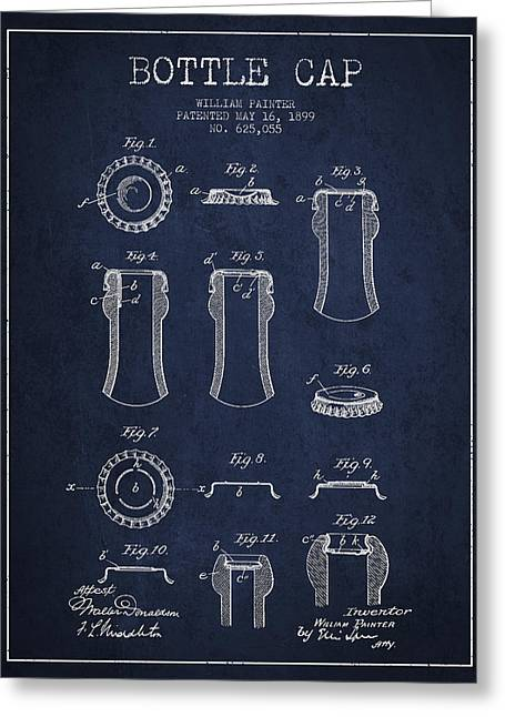 Bottle Cap Patent Drawing From 1899 - Navy Blue Greeting Card by Aged Pixel