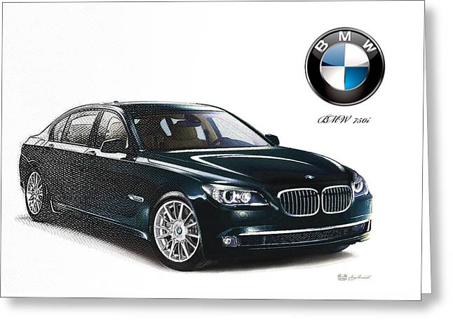 Bottle-green 2013 Bmw 750i With Badge  Greeting Card by Serge Averbukh