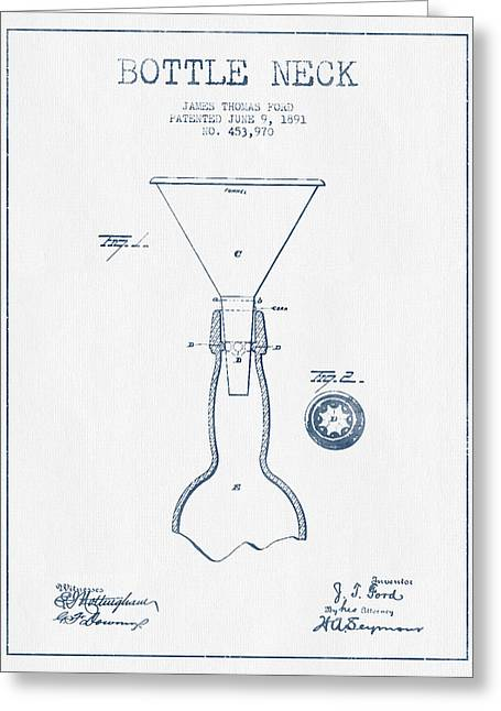 Bottle Neck Patent From 1891 -  Blue Ink Greeting Card