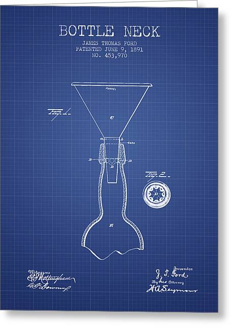 Bottle Neck Patent From 1891 - Blueprint Greeting Card
