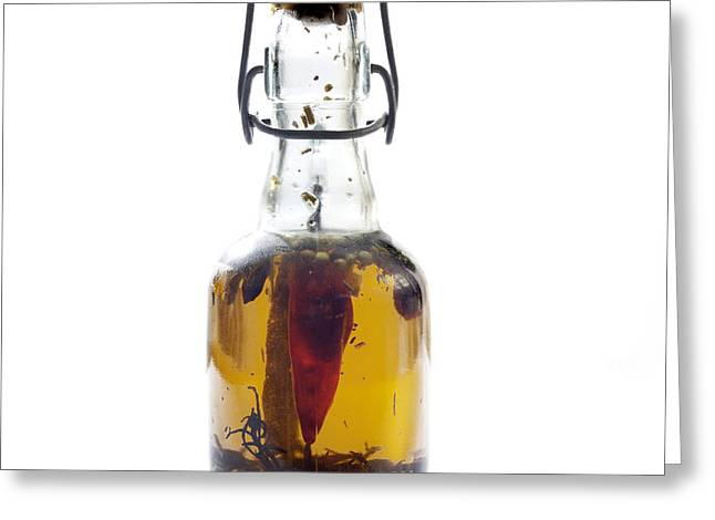 Bottle Of Oil Greeting Card by Bernard Jaubert