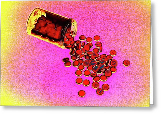 Bottle Of Pills Greeting Card by Larry Berman