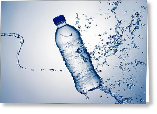 Bottle Water And Splash Greeting Card by Johan Swanepoel