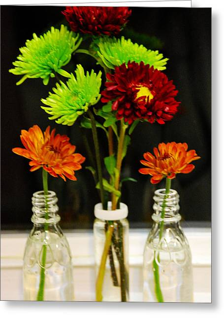 Bottled Flowers Greeting Card by Linda Segerson