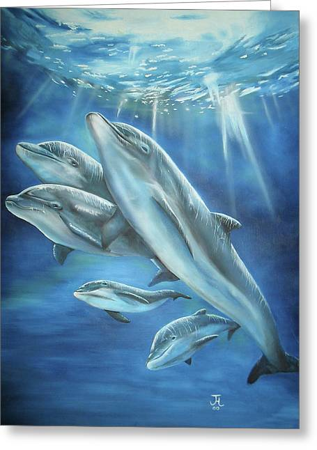 Greeting Card featuring the painting Bottlenose Dolphins by Thomas J Herring