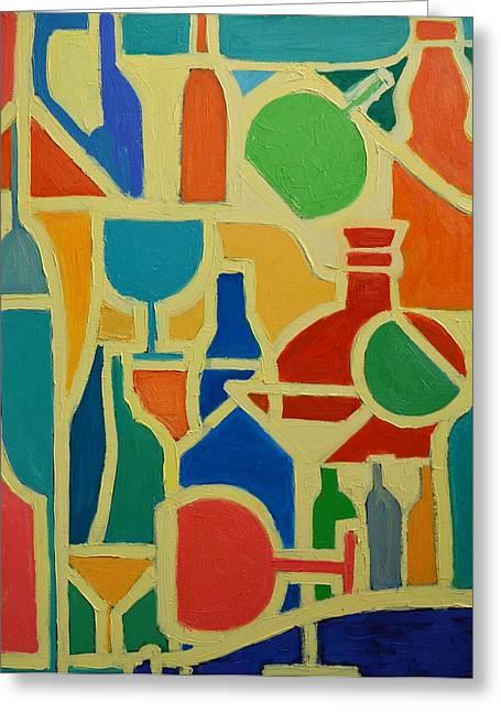Bottles And Glasses 2 Greeting Card by Ana Maria Edulescu