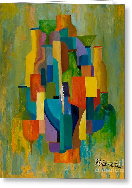 Bottles And Glasses Greeting Card by Larry Martin