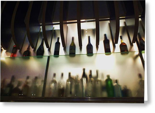 Bottles At The Bar Greeting Card by Anna Villarreal Garbis