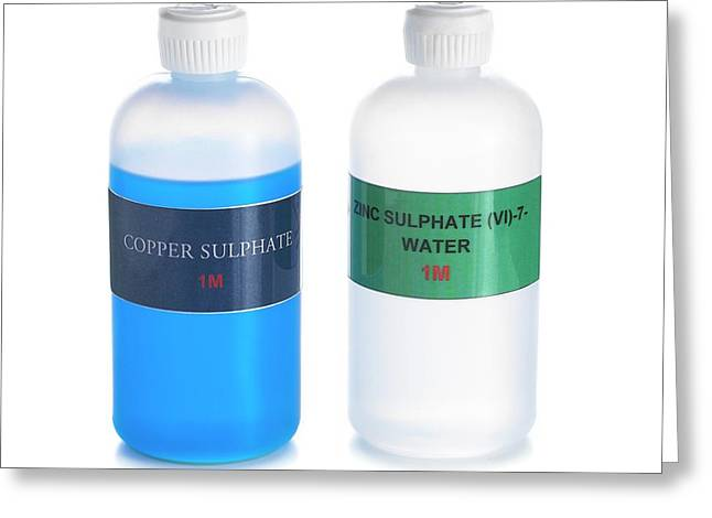 Bottles Of Copper And Zinc Sulphates Greeting Card