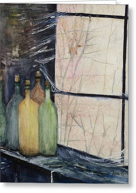 Bottles Of Wine In Cellar Greeting Card by Anais DelaVega