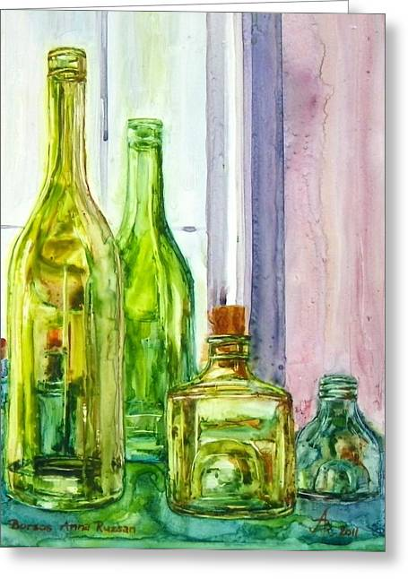 Bottles - Shades Of Green Greeting Card