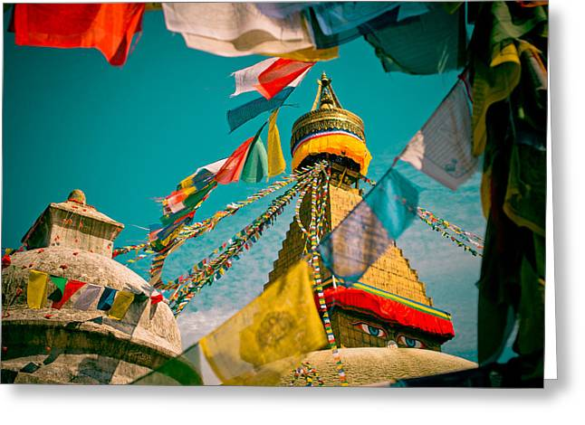 Greeting Card featuring the photograph Boudnath Stupa In Kathmandu Nepal by Raimond Klavins