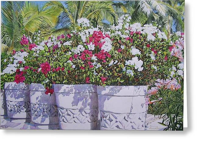 Greeting Card featuring the mixed media Bougainvillea by Constance Drescher
