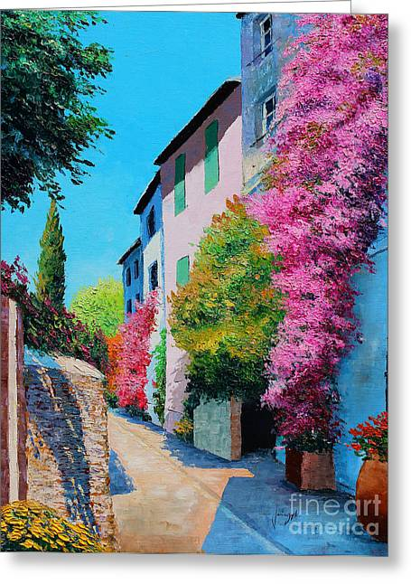 Bougainvillea In Grimaud Greeting Card by Jean-Marc Janiaczyk