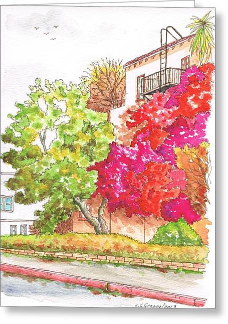 Bougainvilleas And A Green Tree In Hollywood - California Greeting Card by Carlos G Groppa