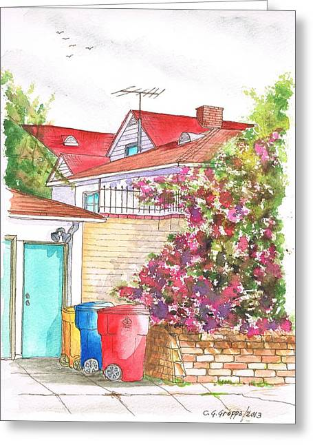 Bougainvilleas And Trash Cans In Westwood - California Greeting Card by Carlos G Groppa