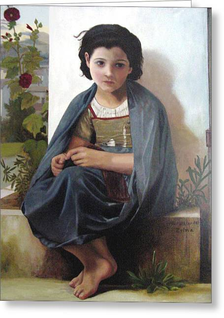 Bouguereau's Knitting Girl Greeting Card by Zelma Hensel