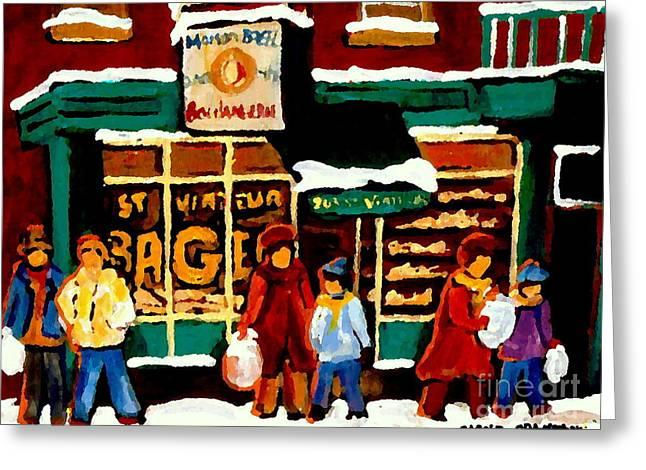Boulangerie Bakery Deli Paintings St Viateur Bagel Shop Montreal Art City Scenes Carole Spandau Greeting Card by Carole Spandau