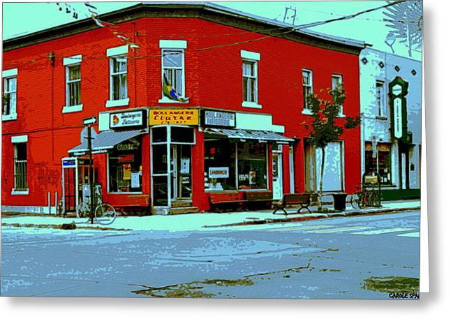 Boulangerie Patisserie Clarke Sandwich Shop Corner Depanneur Montreal Street Scene Art Greeting Card by Carole Spandau
