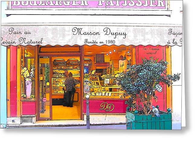 Boulangerie Patisserie In Paris Greeting Card by Jan Matson