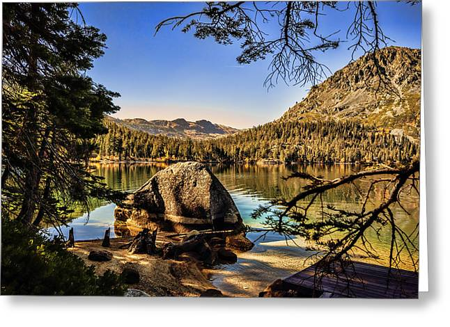 Greeting Card featuring the photograph Boulder At Fallen Leaf Lake by William Havle