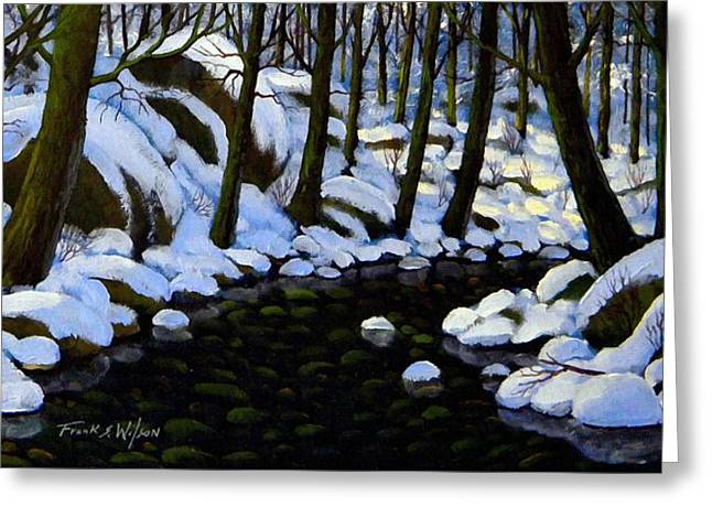 Boulder Brook In Winter Greeting Card by Frank Wilson