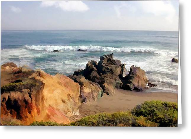 Boulder March Into The Pacific Greeting Card by Elaine Plesser