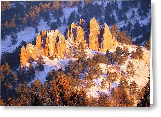 Boulder Red Rocks Glowing Greeting Card