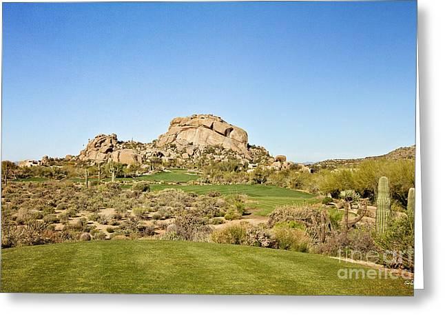 Boulders Golf Greeting Card by Scott Pellegrin