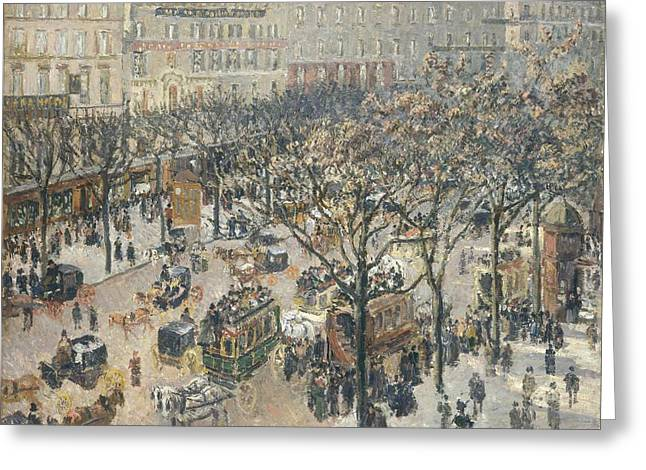 Boulevard Des Italiens Morning Sunlight Greeting Card by Camille Pissarro