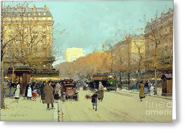 Boulevard Haussmann In Paris Greeting Card by Eugene Galien-Laloue