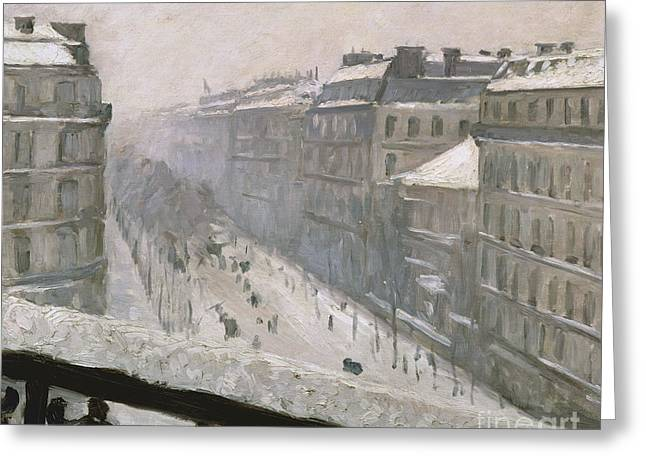 Boulevard Haussmann In The Snow Greeting Card